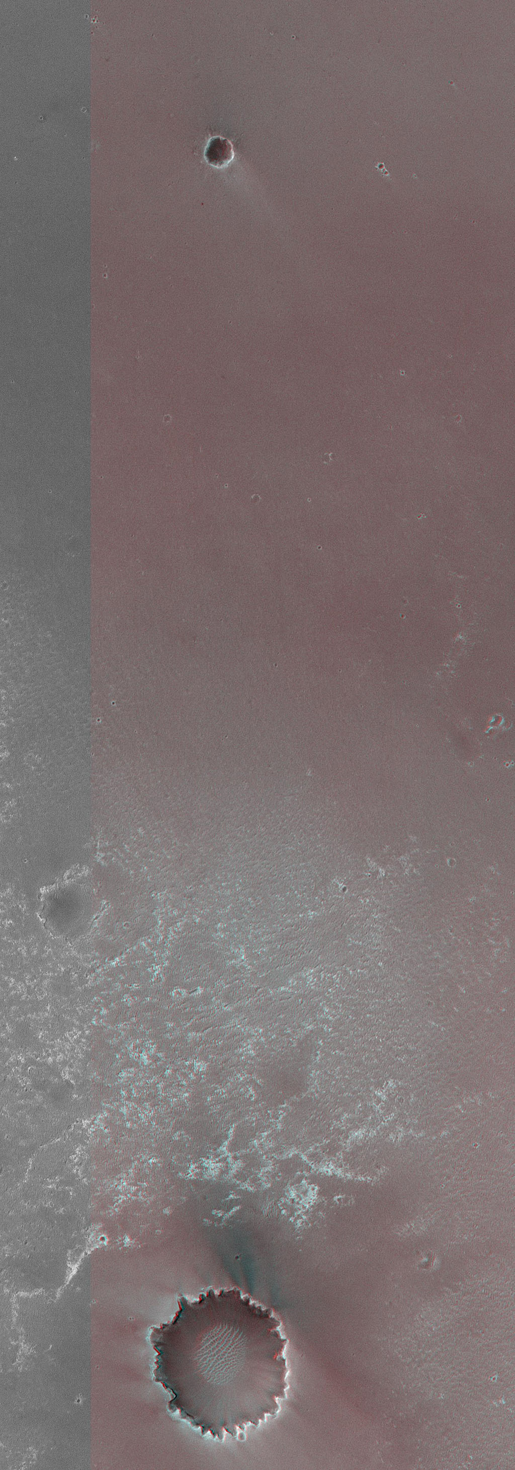 This anaglyph from NASA's Mars Global Surveyor is of Meridiani Planum, the landing site of Mars Exploration Rover, Opportunity. 3D glasses are necessary to view this image.