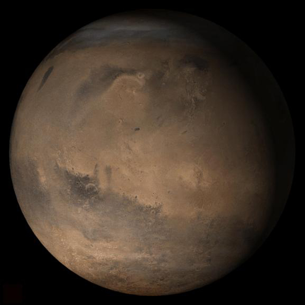 NASA's Mars Global Surveyor shows the Elysium/Mare Cimmerium face of Mars in mid-January 2006.