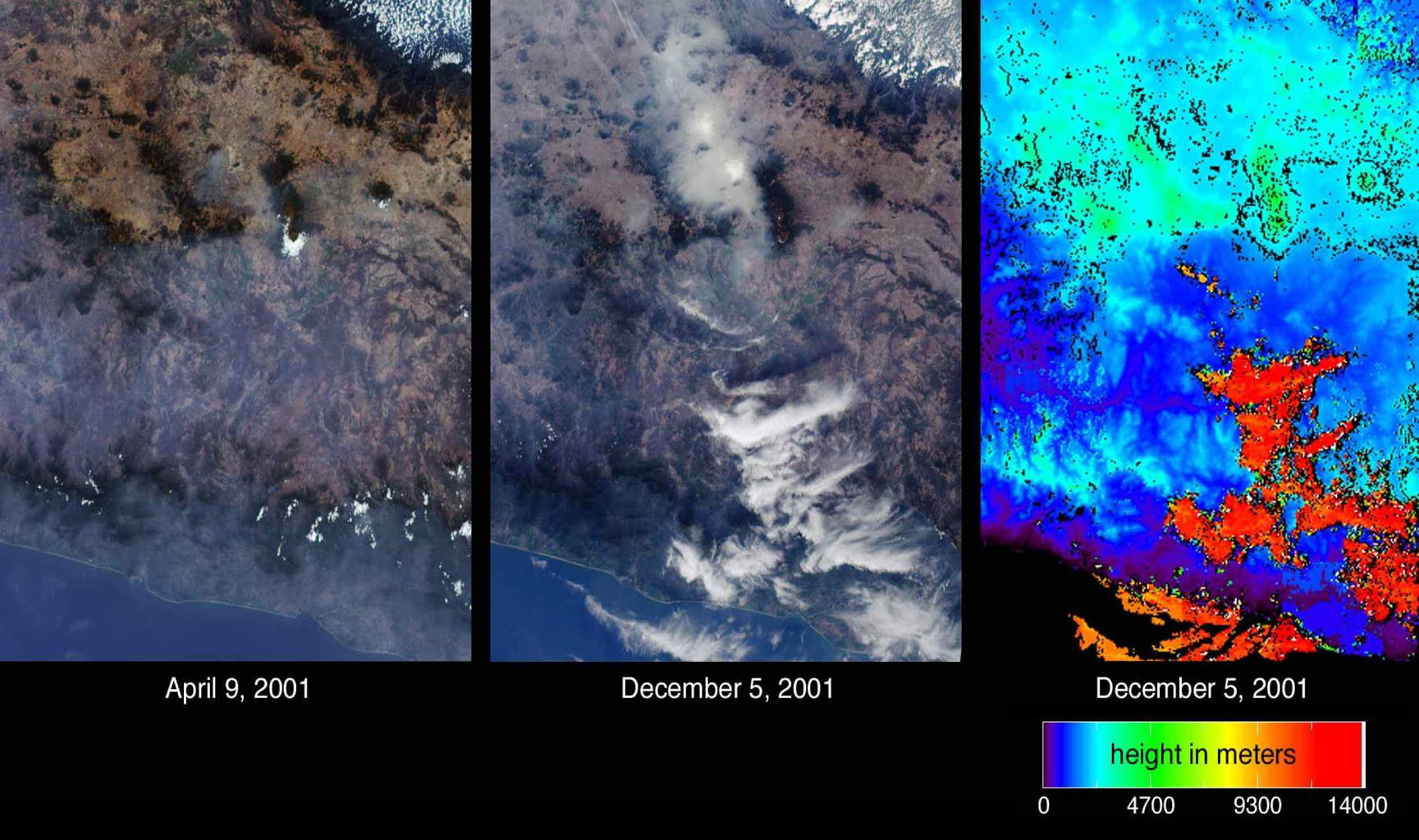 Mexico City has one of the world's most serious air pollution problems. These images from NASA's Terra satellite were captured on April 9 and December 5, 2001.