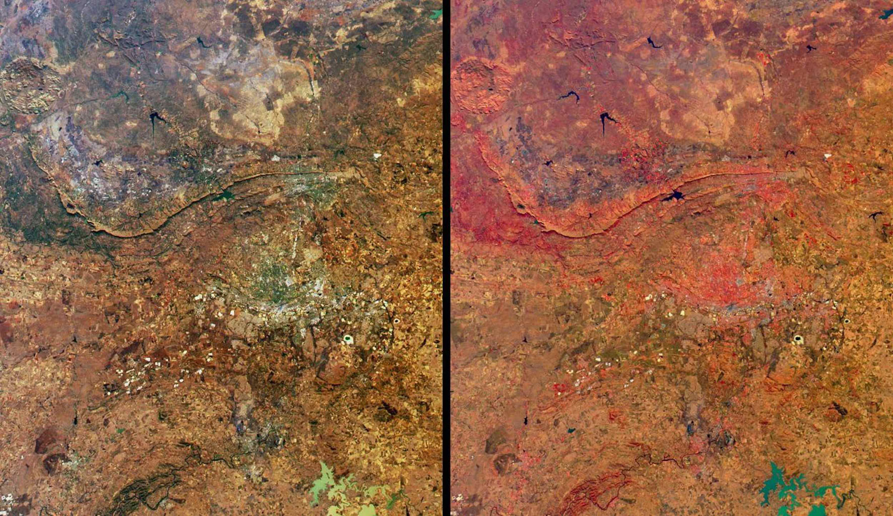 These views from NASA's Terra satellite highlight a number of the land use, vegetation, and geological features found Johannesburg, Gauteng Province, South Africa.
