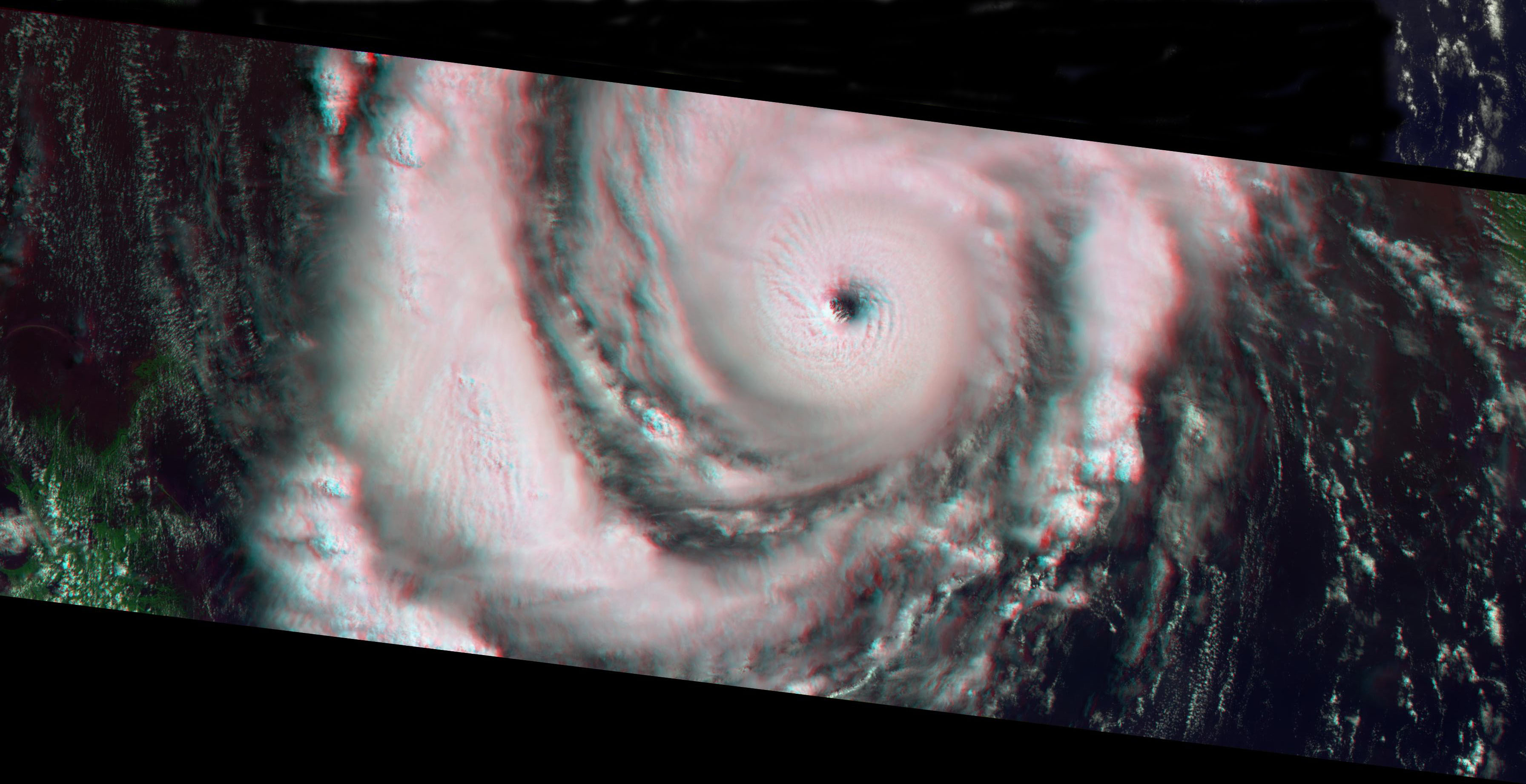 This anaglyph from the MISR instrument aboard NASA's Terra spacecraft shows Hurricane Lili headed for Louisiana on October 2, 2002. 3D glasses are necessary to view this image.