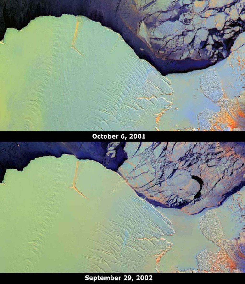 These images from NASA's Terra satellite portray the Amery Ice Shelf front on October 6, 2001 (top) and September 29, 2002 (bottom), and illustrate changes that took place over the year elapsed between the two views.
