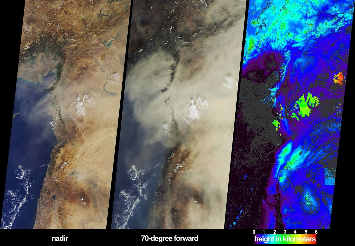 These images from NASA's Terra satellite, captured on October 18, 2002, display a large dust plume extended across countries bordering the eastern Mediterranean Sea.