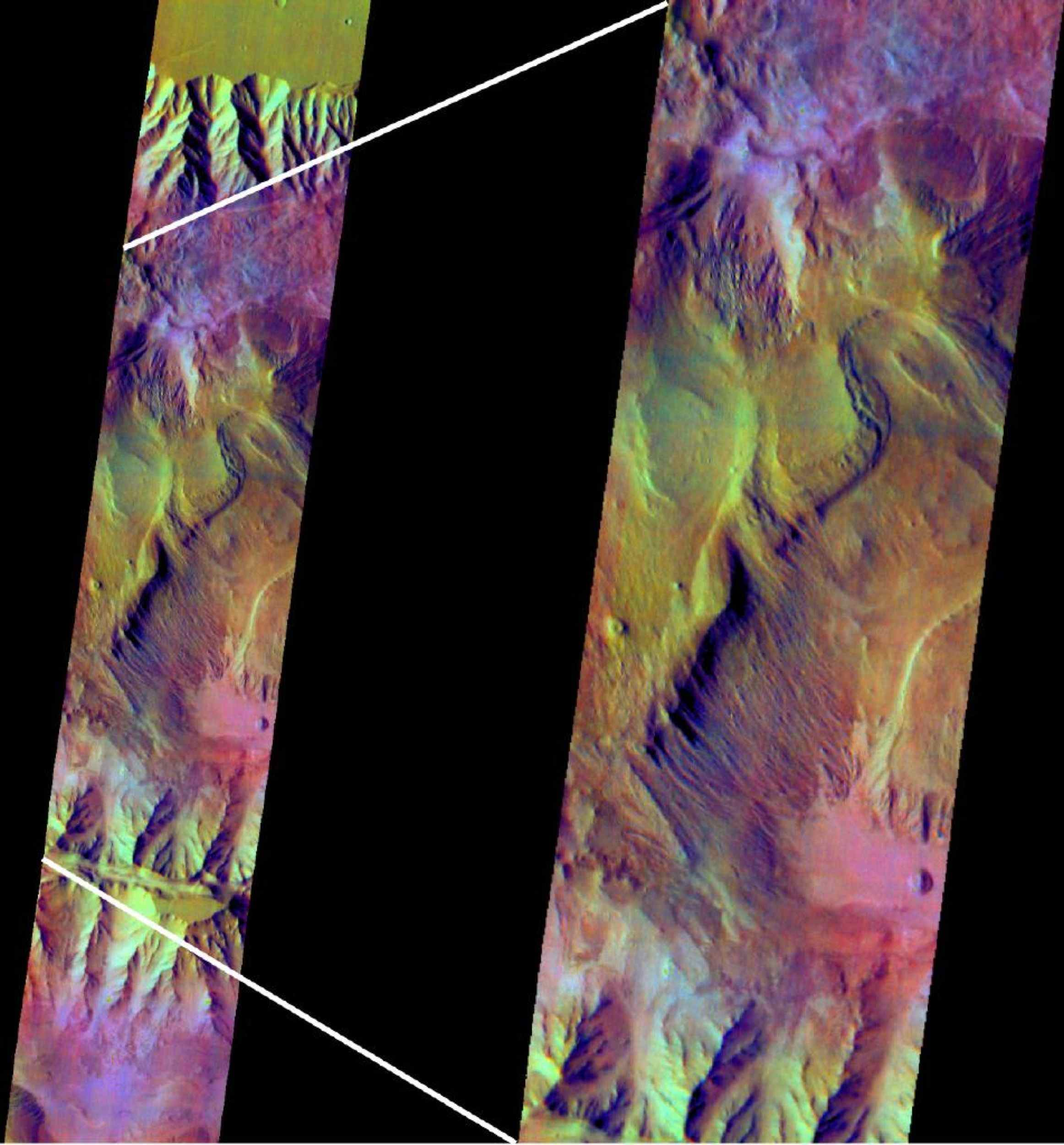 This false-color infrared image from NASA's Mars Odyssey was acquired over the region of Ophir and Candor Chasma in Valles Marineris.
