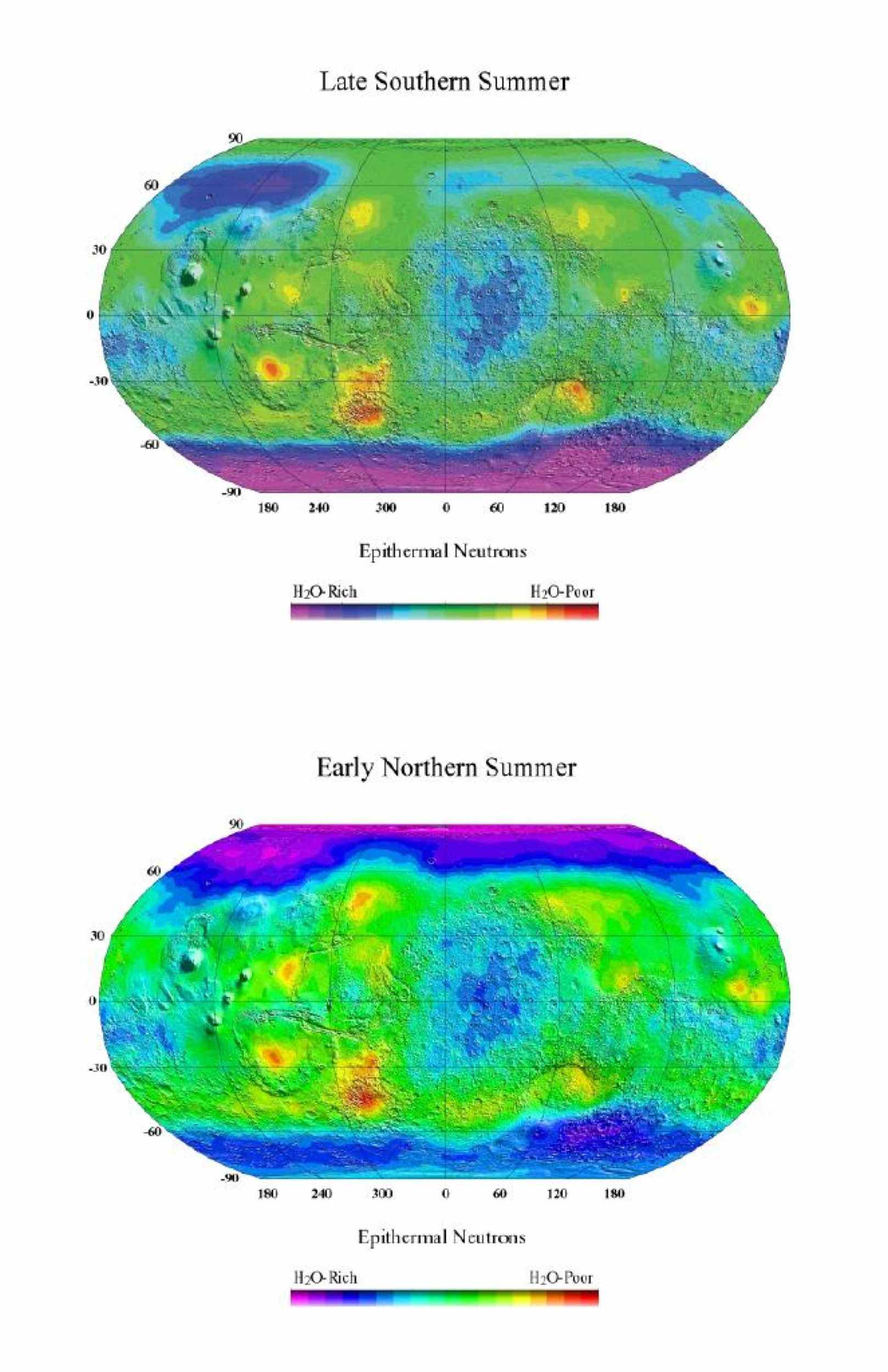 These two views of Mars were made with data taken by the neutron spectrometer component of NASA's Mars Odyssey spacecraft and show epithermal neutron flux, which is sensitive to the amount of hydrogen present.
