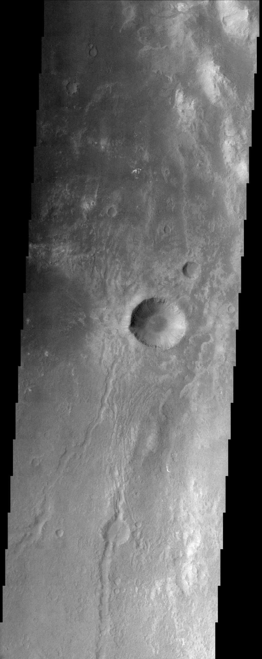 The eastern floor of Holden Crater, which is located in region of the southern hemisphere called Noachis Terra and is 154 km in diameter, is seen in this image from NASA's Mars Odyssey spacecraft.