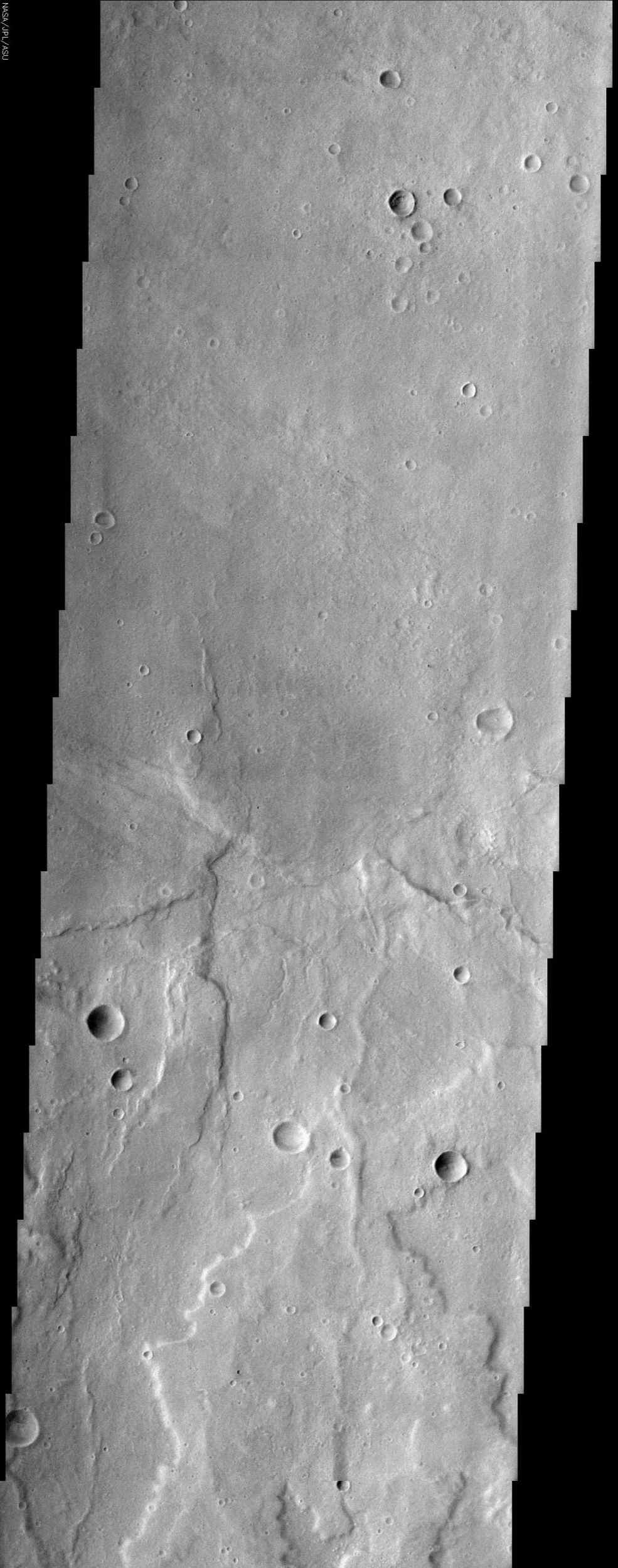 Although the largest volcanoes on Mars (and in the solar system) are located in the geologically young Tharsis region, there are many Martian volcanoes that display equally interesting features, such as Hadriaca Patera in this NASA Mars Odyssey image.