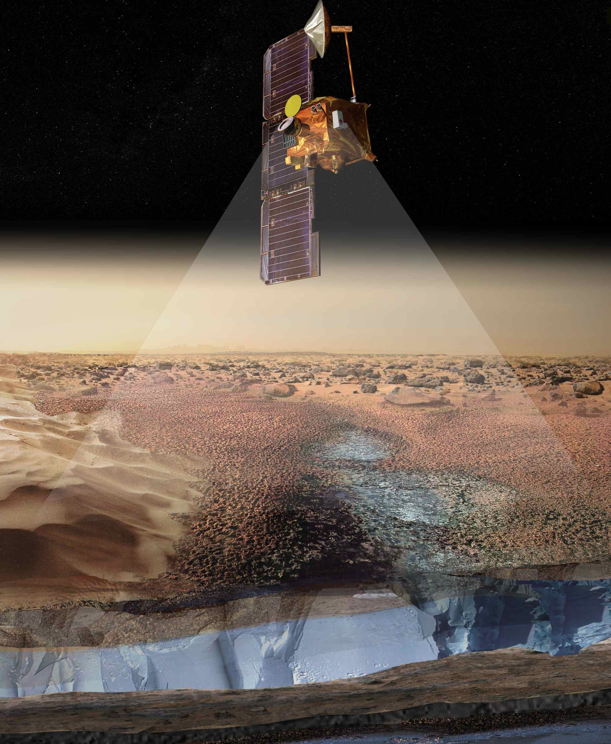 This artist's rendering portrays ice-rich layers in the soils of Mars being detected by instruments aboard NASA's 2001 Mars Odyssey spacecraft.