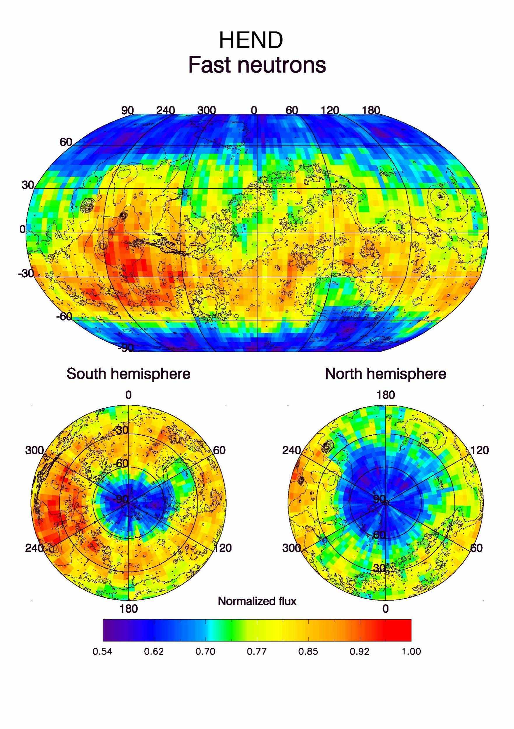 Observations by NASA's Mars Odyssey spacecraft show a global view of Mars in high-energy, or fast, neutrons.