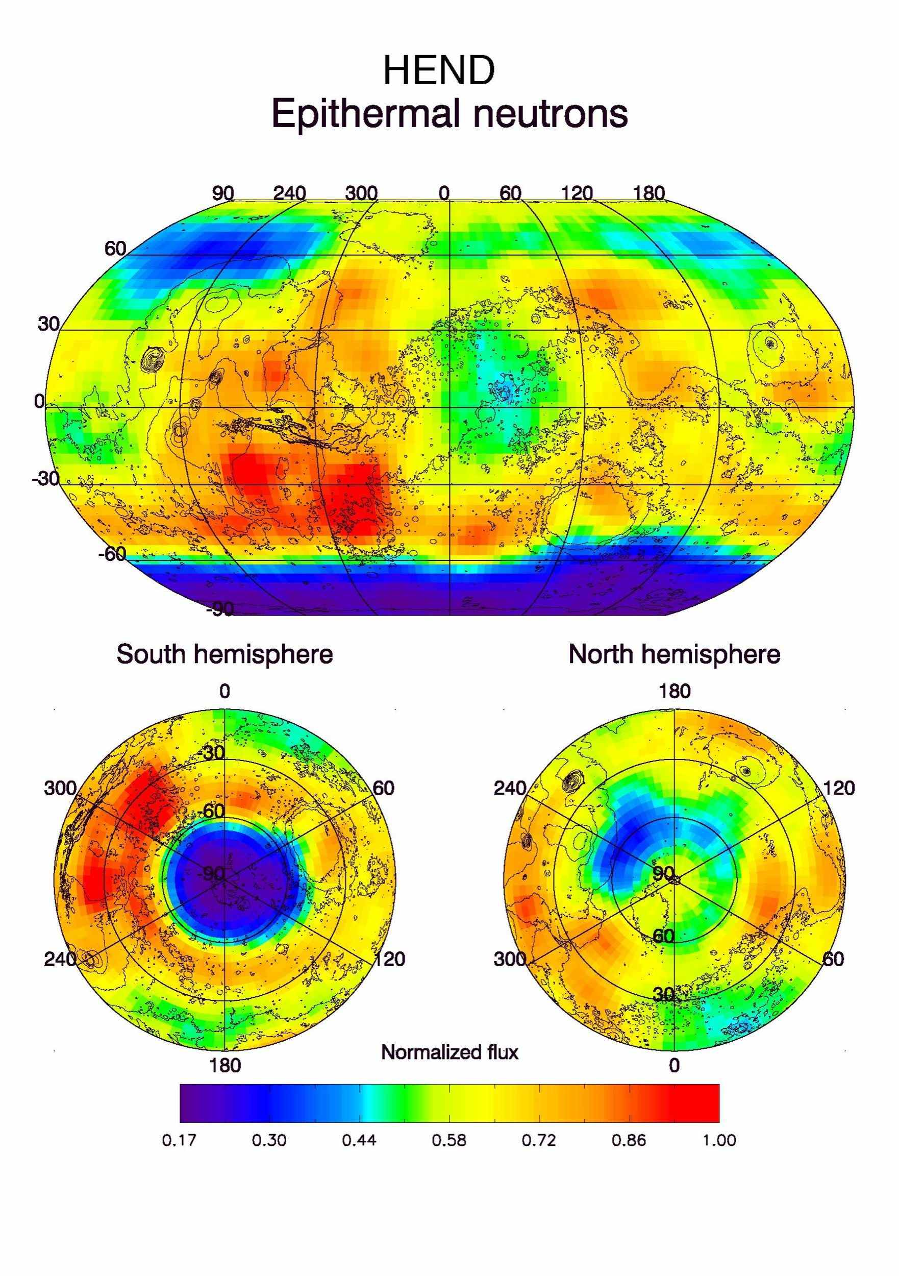 This global view of Mars in intermediate-energy, or epithermal, neutrons was created from observations by NASA's Mars Odyssey spacecraft.