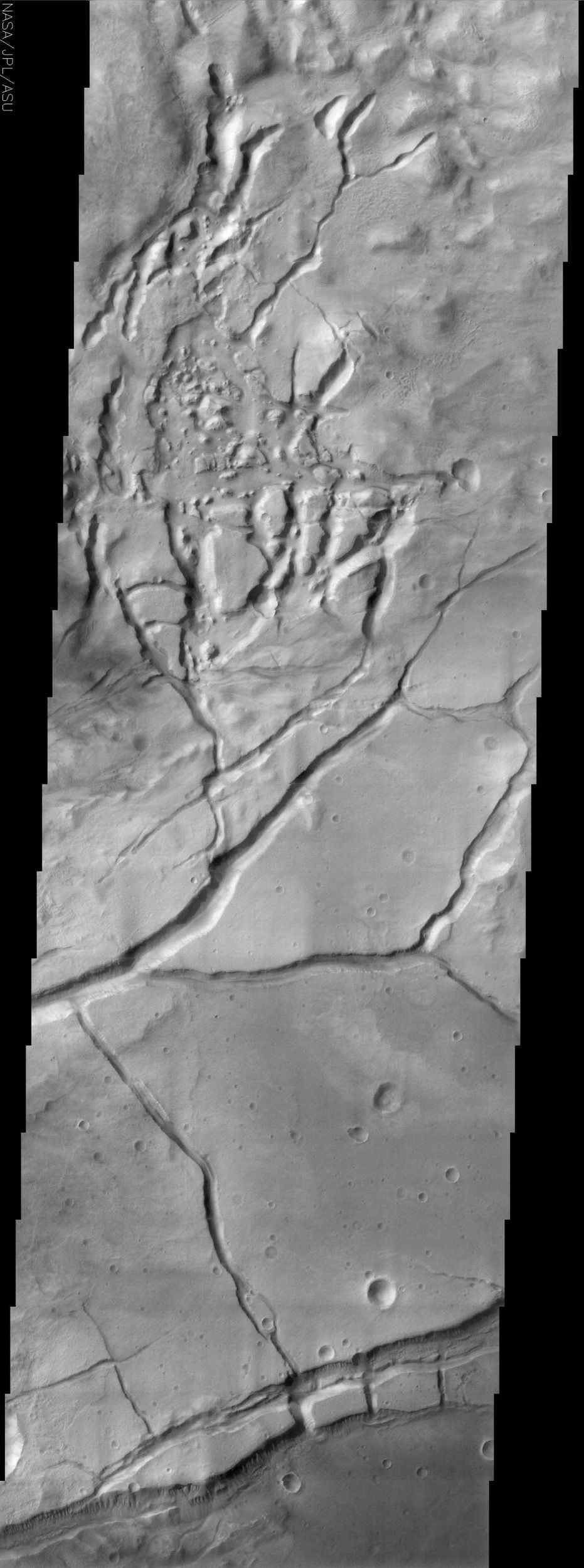 The fractured surface shown in this image from NASA's Mars Odyssey spacecraft belongs to a portion of a region called Gorgonum Chaos located in the southern hemisphere of Mars.