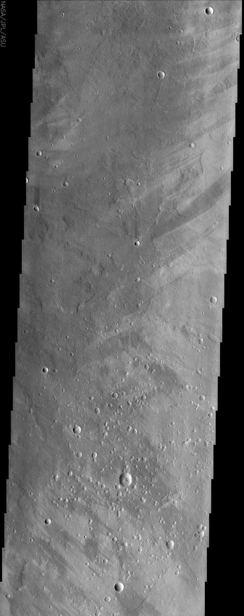 This image from NASA's Mars Odyssey spacecraft shows a region of Mars called Ophir Planum. The Valles Marineris system of canyons that stretch for thousands of kilometers across Mars are located just south of the area covered in the image.