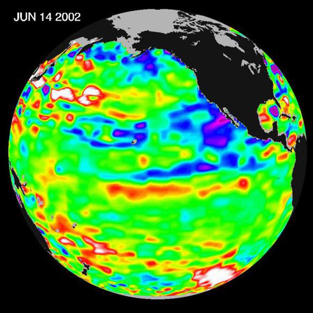 The Pacific Ocean doesn't show signs of anything that looks like the whopper El Niño of 1997-1998, according to information from NASA's U.S.-French ocean-observing satellite Topex/Poseidon.