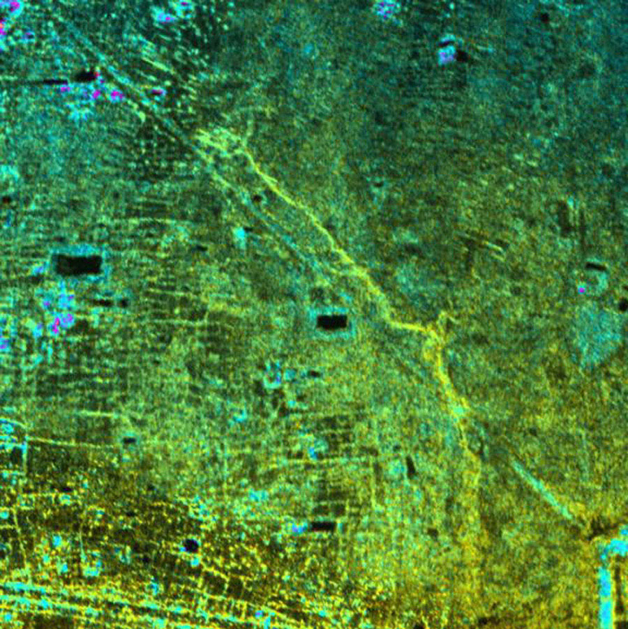 This radar image, taken by NASA's Airborne Synthetic Aperture Radar in 2002, shows the Old Khmer Road (Inrdratataka-Bakheng causeway) in Cambodia.