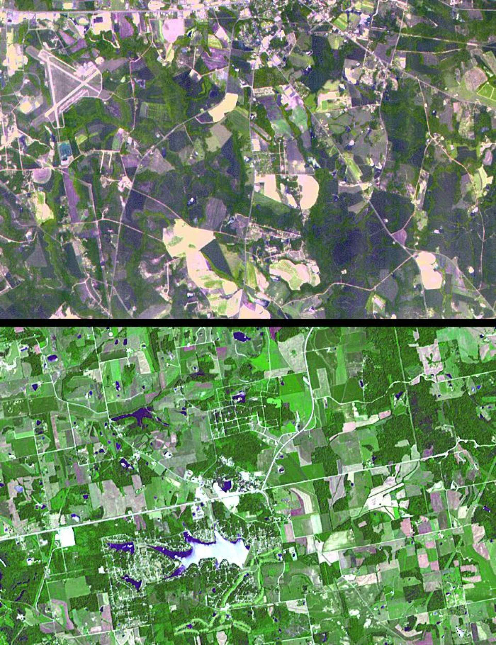 The towns of Santa Claus, Ga., (top) and Santa Claus, Ind. (bottom), are shown in these two images from the Advanced Spaceborne Thermal Emission and Reflection Radiometer (ASTER) instrument on NASA's Terra satellite.