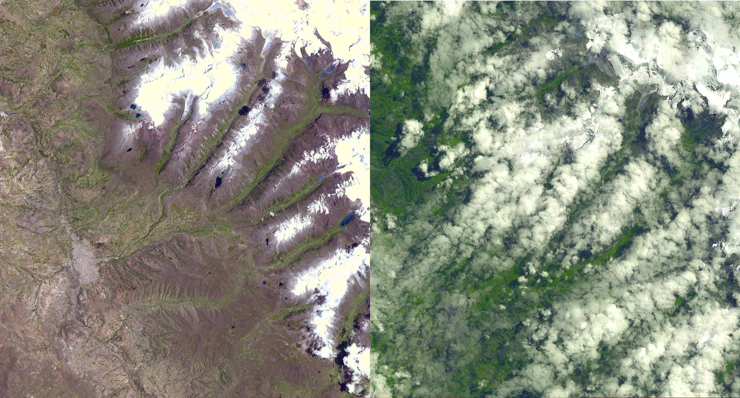 An Earth-monitoring instrument aboard NASA's Terra satellite kept a close eye on a potential glacial disaster in the making in Peru's spectacular, snow-capped Cordillera Blanca (White Mountains), the highest range of the Peruvian Andes.