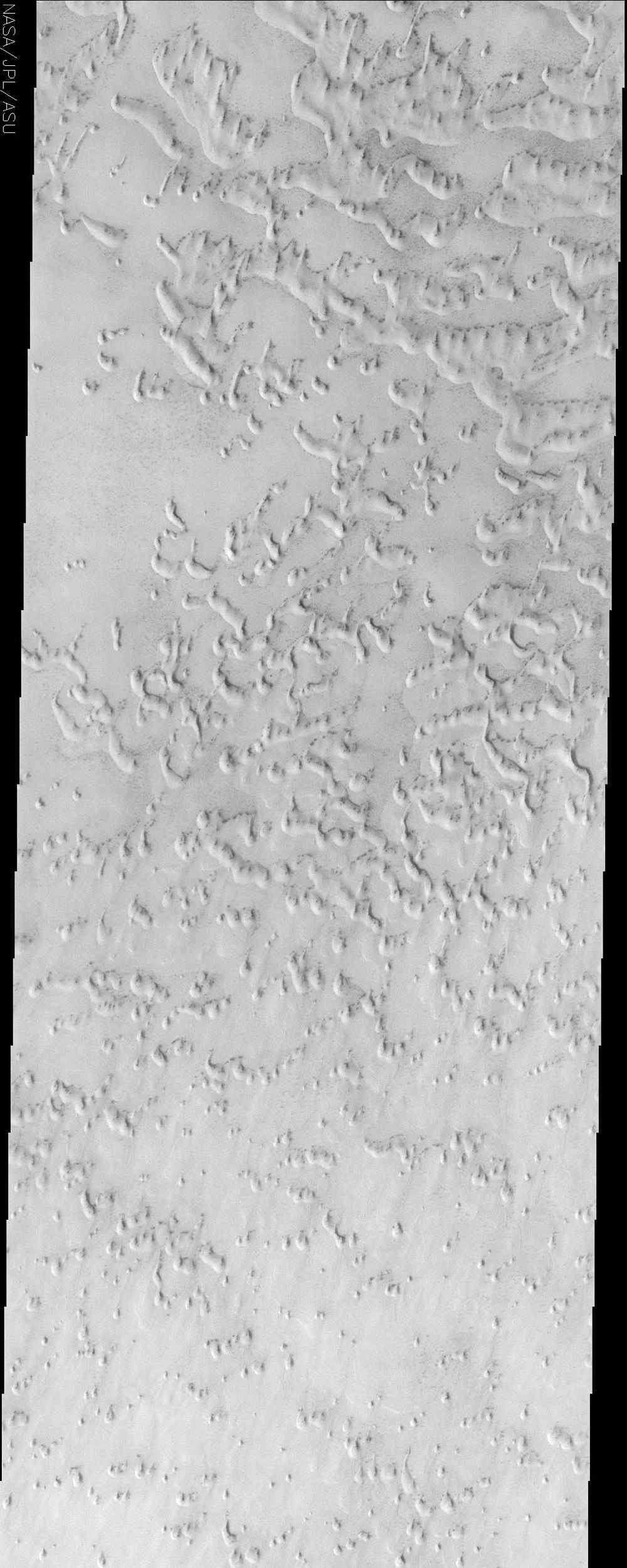This image from NASA's Mars Odyssey spacecraft displays sand dunes covered in CO2 frost. This is a region of Mars that contains circumpolar sand seas.