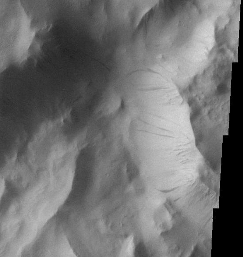 This image from NASA's Mars Odyssey spacecraft shows that dust avalanches, also called slope streaks, occur on many Martian terrains. These dust avalanches occur on the slopes of Lycus Sulci near Olympus Mons.