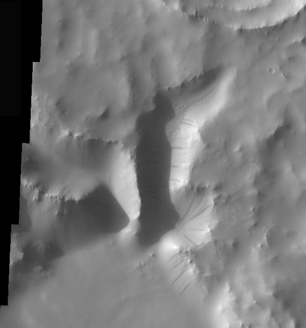 This image from NASA's Mars Odyssey spacecraft shows that dust avalanches, also called slope streaks, occur on many Martian terrains. These dust avalanches are located in a small canyon within a crater rim northeast of Naktong Vallis.