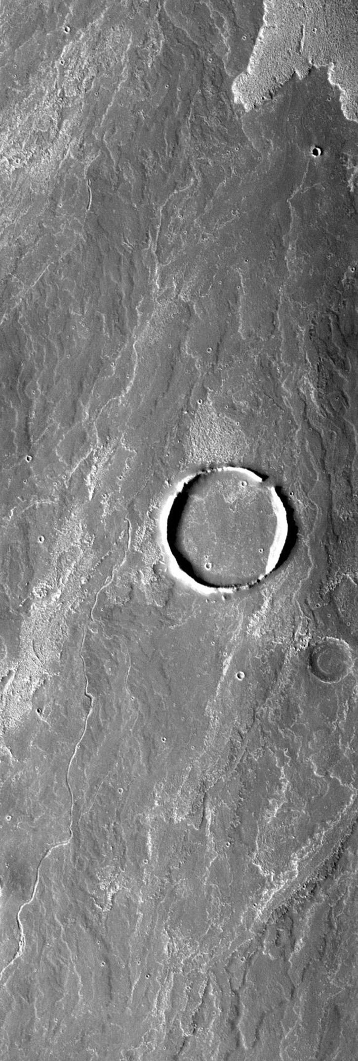 This image from NASA's Mars Odyssey spacecraft shows that Arsia Mons flows that have surrounded a large crater. At some point the flows broke through the crater rim and then filled the interior of the crater with lava.