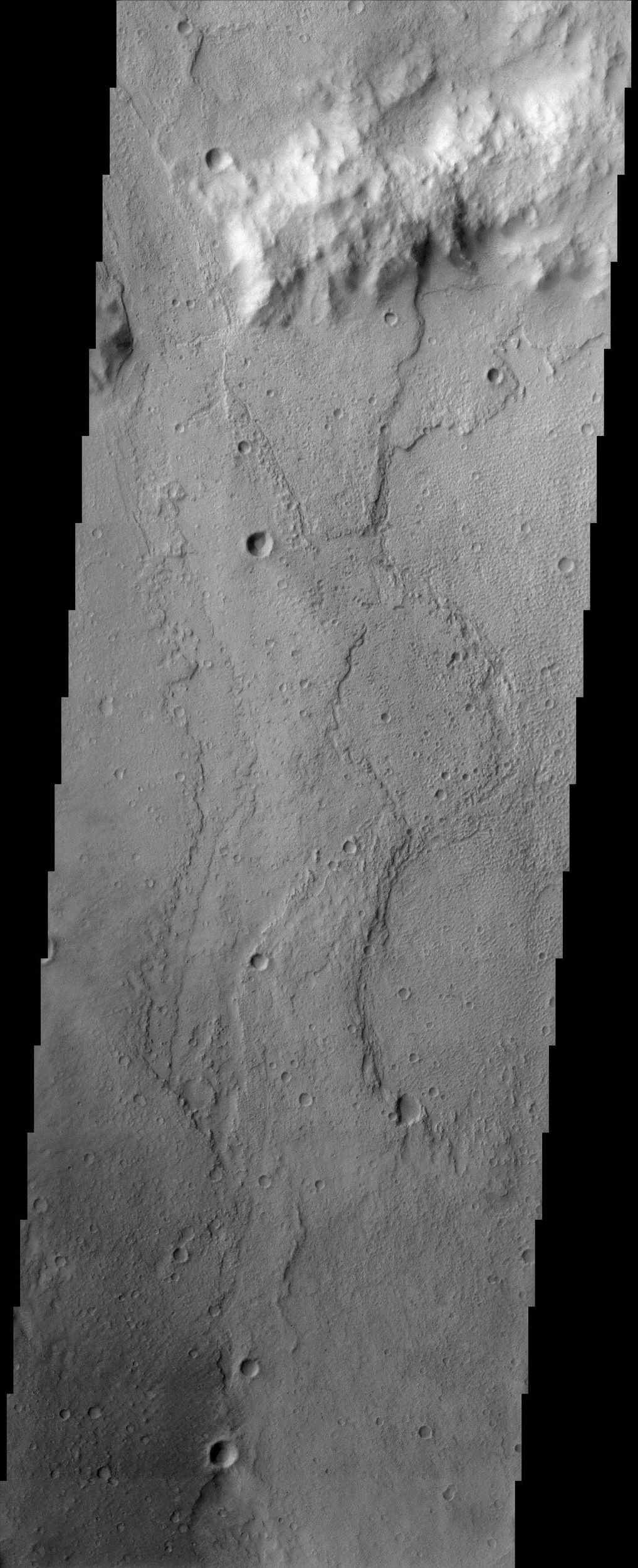 Palos Crater, seen in this NASA Mars Odyssey image, has been suggested as a future landing site for Mars missions because it may contain lake deposits. This crater has a channel called Tinto Vallis, which enters from the south.