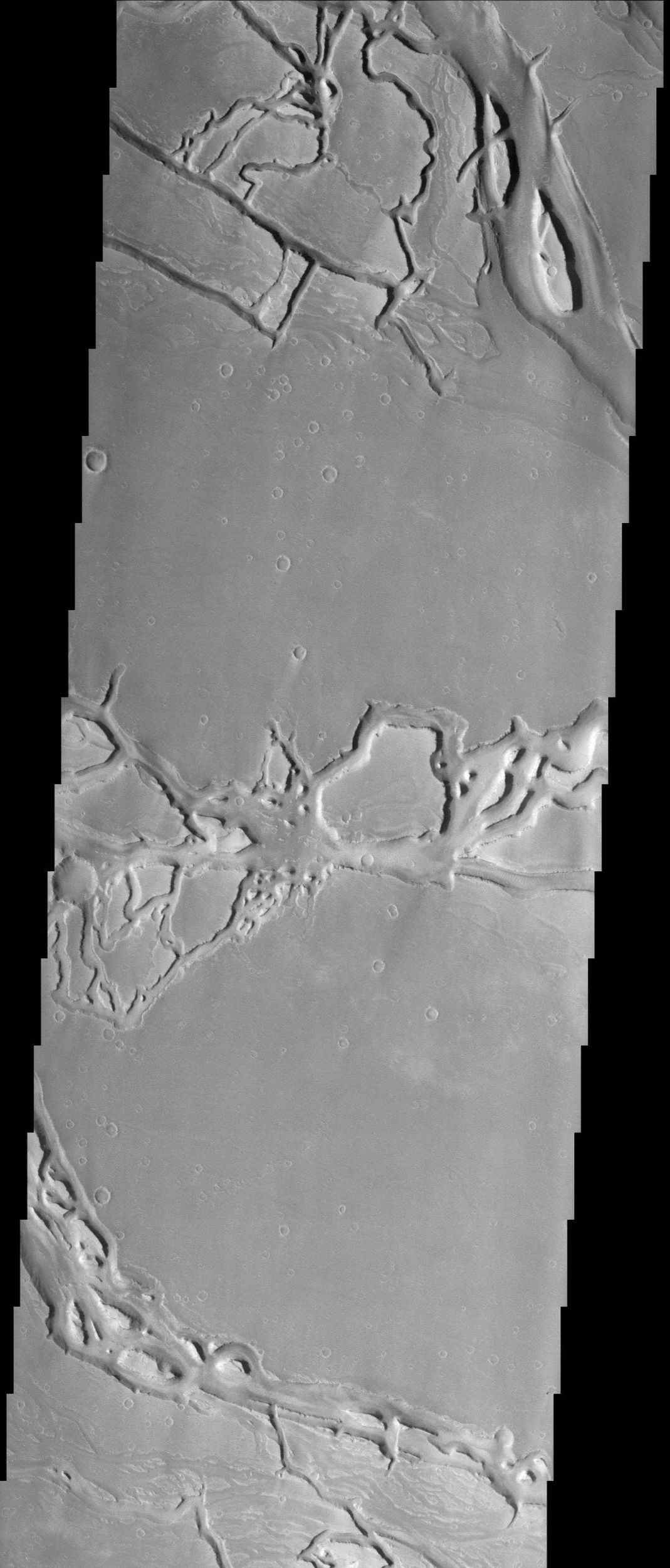 The force of moving water from a flood carved these teardrop-shaped islands within Granicus Valles, imaged here by NASA's Mars Odyssey spacecraft. The orientation of the islands can be used as an indicator of the direction the water flowed.