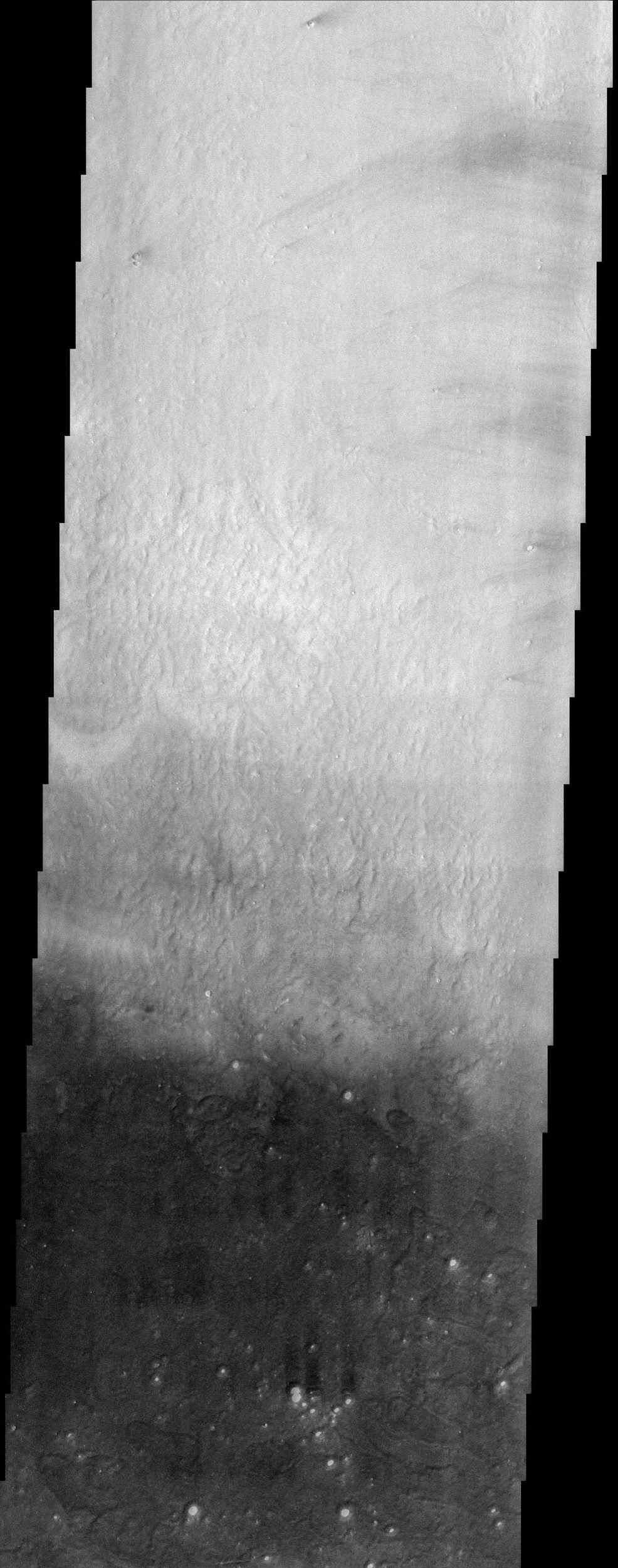 Arcadia Planitia, shown in this NASA Mars Odyssey image, occupies a region just north of Amazonis Planitia, one of the brightest and dustiest regions on Mars.