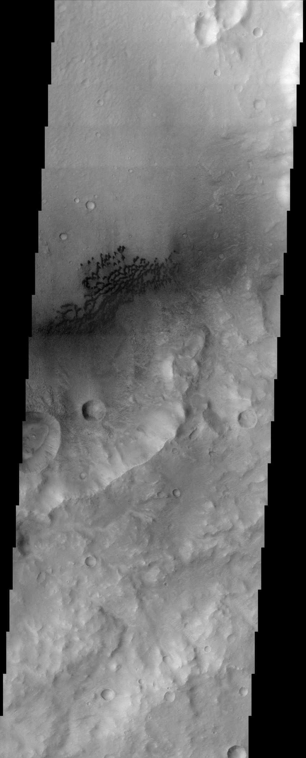 This image from NASA's Mars Odyssey spacecraft shows the eastern portion of a region on Mars called Hesperia Planum. Immediately visible in the image is the dark barchan type dunes that are being blown against the southeast wall of the crater.