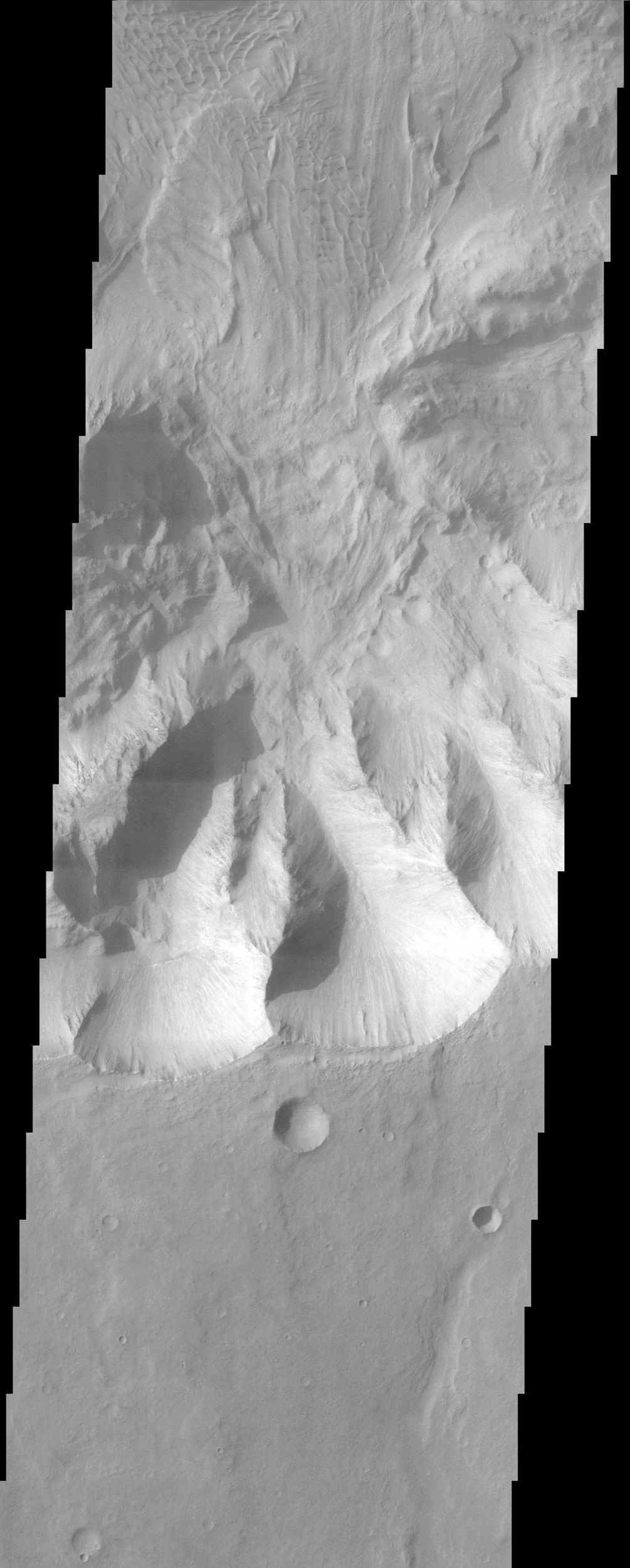 Coprates Chasma comprises the central portion of the Valles Marineris canyon system complex. This image from NASA's Mars Odyssey spacecraft of the southern wall of Coprates Chasma contains a landslide deposit with dunes over portions of slide.