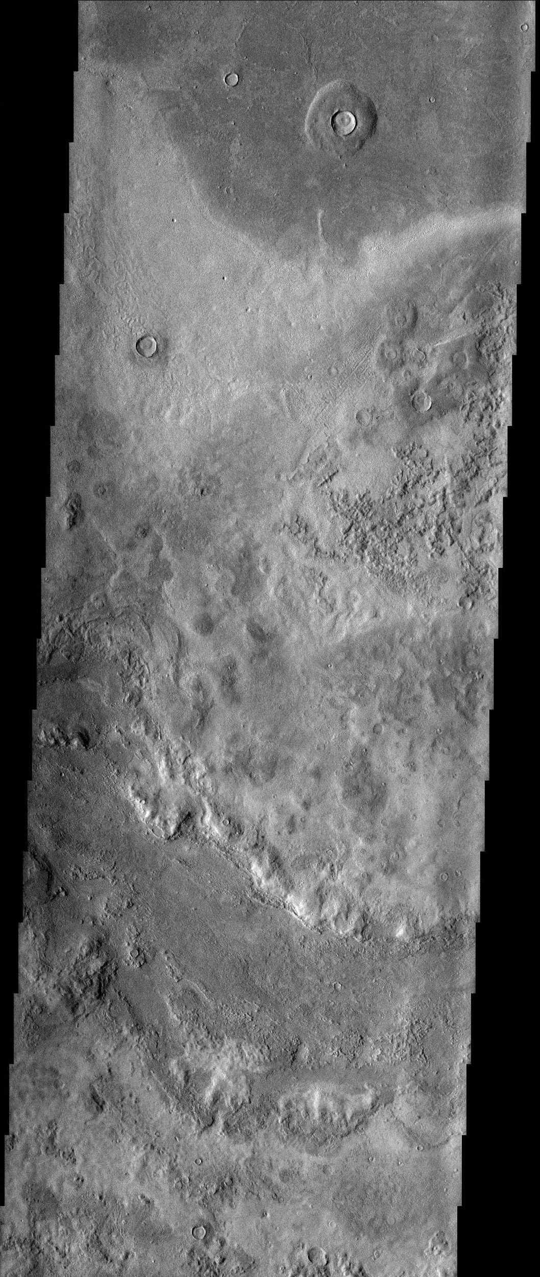 In this image from NASA's Mars Odyssey spacecraft, bizarre textures cover the surface of eastern Utopia Planitia, where there is a high probability that ground ice has played a role in the formation of this unusual landscape.