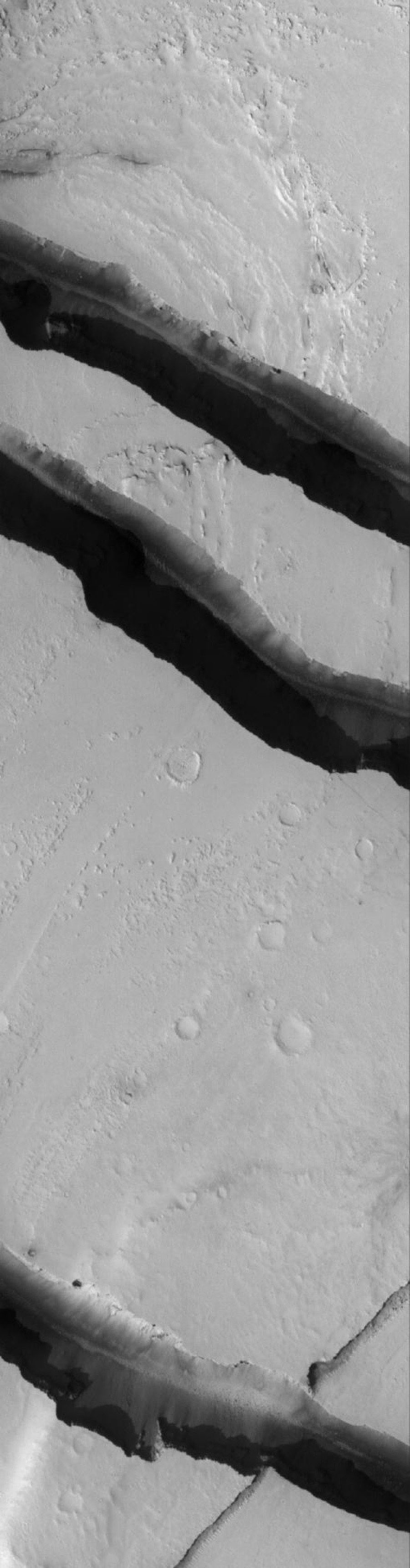 NASA's Mars Global Surveyor shows channels carved by catastrophic floods in the Tharsis region of Mars. This area is located northwest of the volcano, Jovis Tholus, and east of the large martian volcano, Olympus Mons.