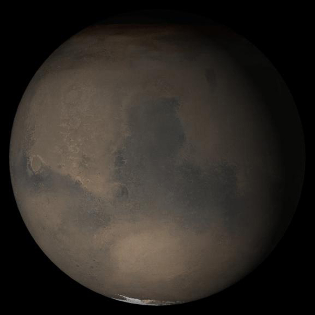 NASA's Mars Global Surveyor shows the Syrtis Major face of Mars in mid-July 2005.