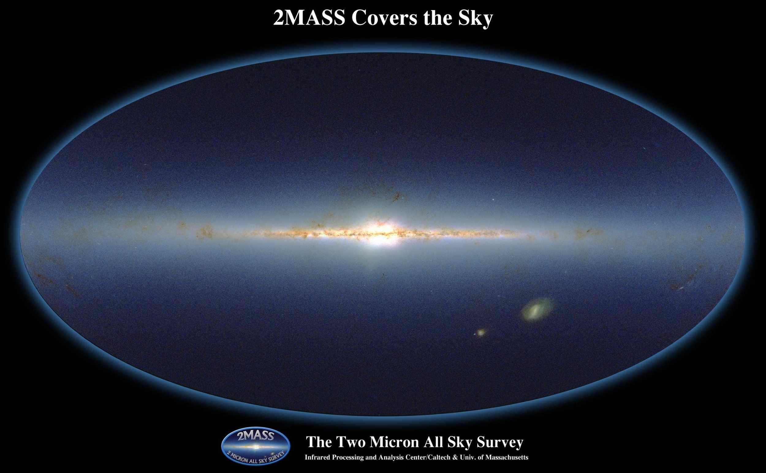 Aitoff projection of the three-color composite JHKs source count map of the entire sky, based on 95,851,173 stars with Ks 13.5. What appears most prominently are the Galactic plane and the Galactic bulge.