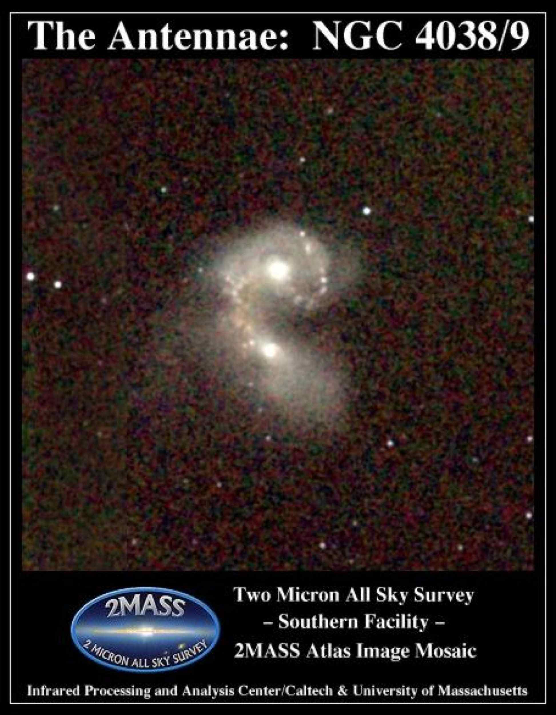 Atlas Image mosaic, covering 7' x 7' on the sky of the interacting galaxies NGC 4038 and NGC 4039, better known as the Antennae, or Ring Tail galaxies. The two galaxies are engaged in a tug-of-war as they collide.