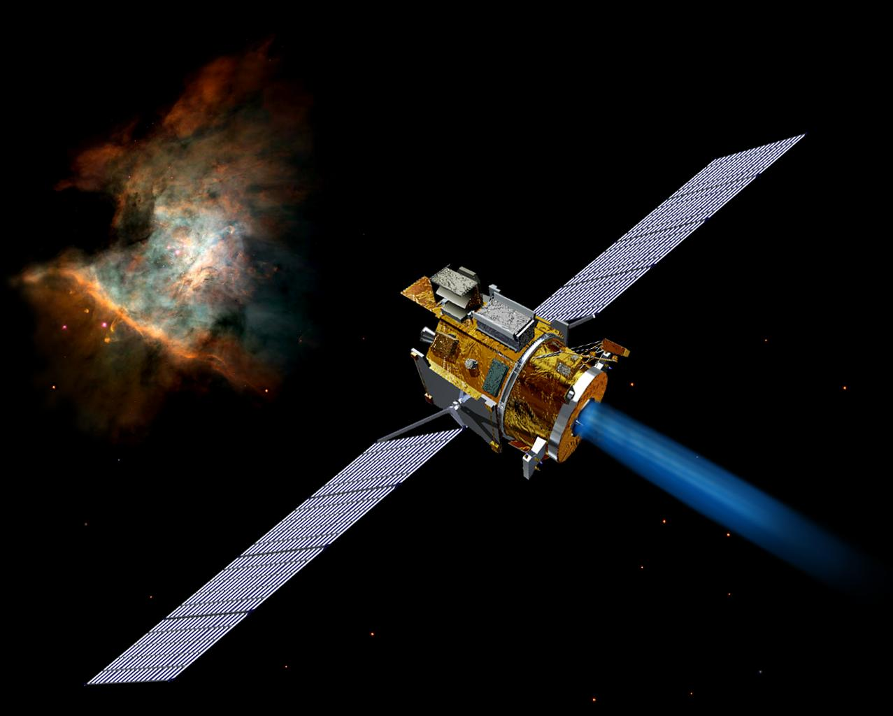 Artist's concept of the Deep Space 1 spacecraft from December, 2002.