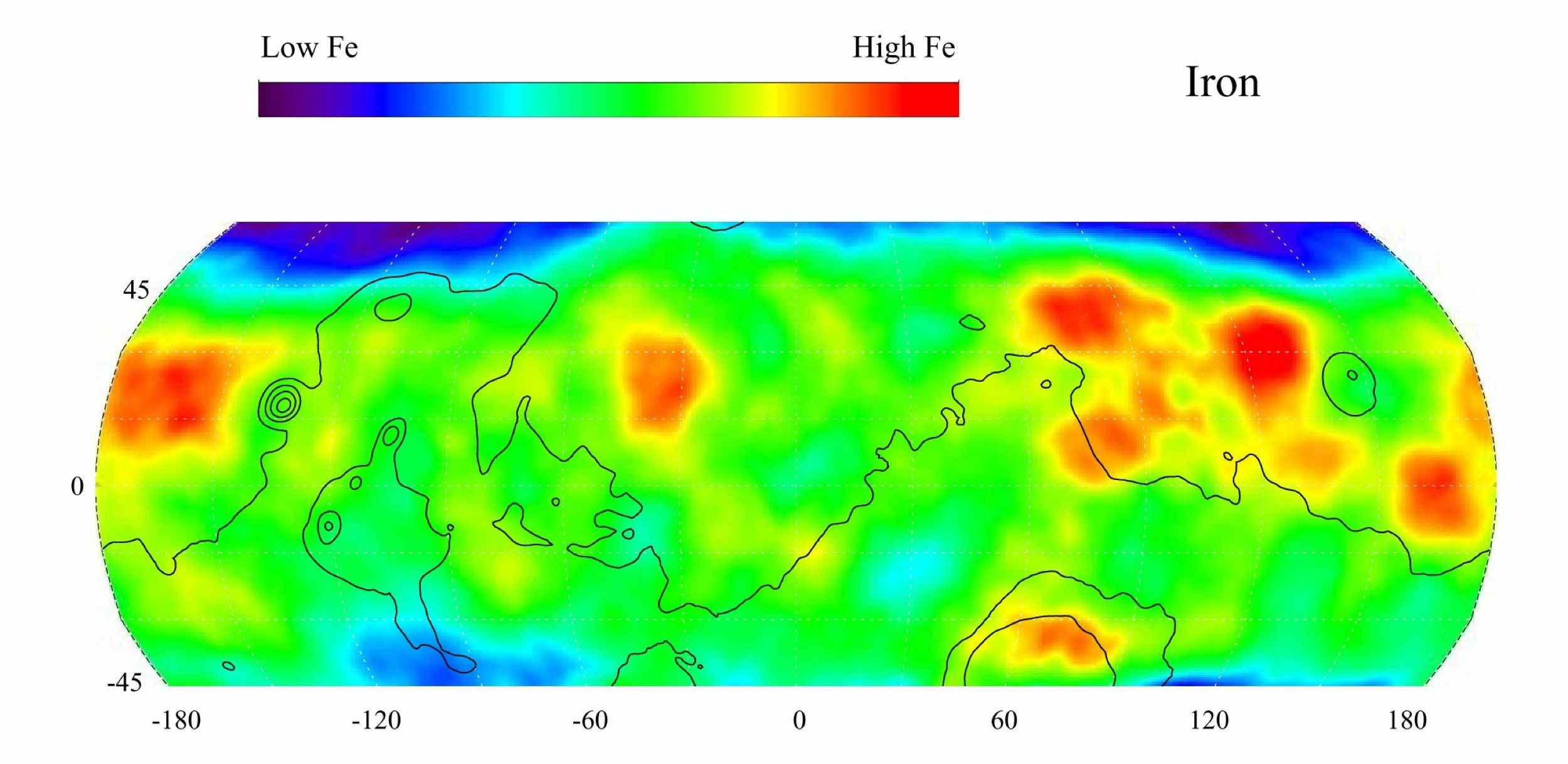 This gamma ray spectrometer map from NASA's Mars Odyssey of the mid-latitude region of Mars is based on gamma-rays from the element iron, one of the most abundant elements on Mars and Earth. It is responsible for the red color on the surface of Mars.