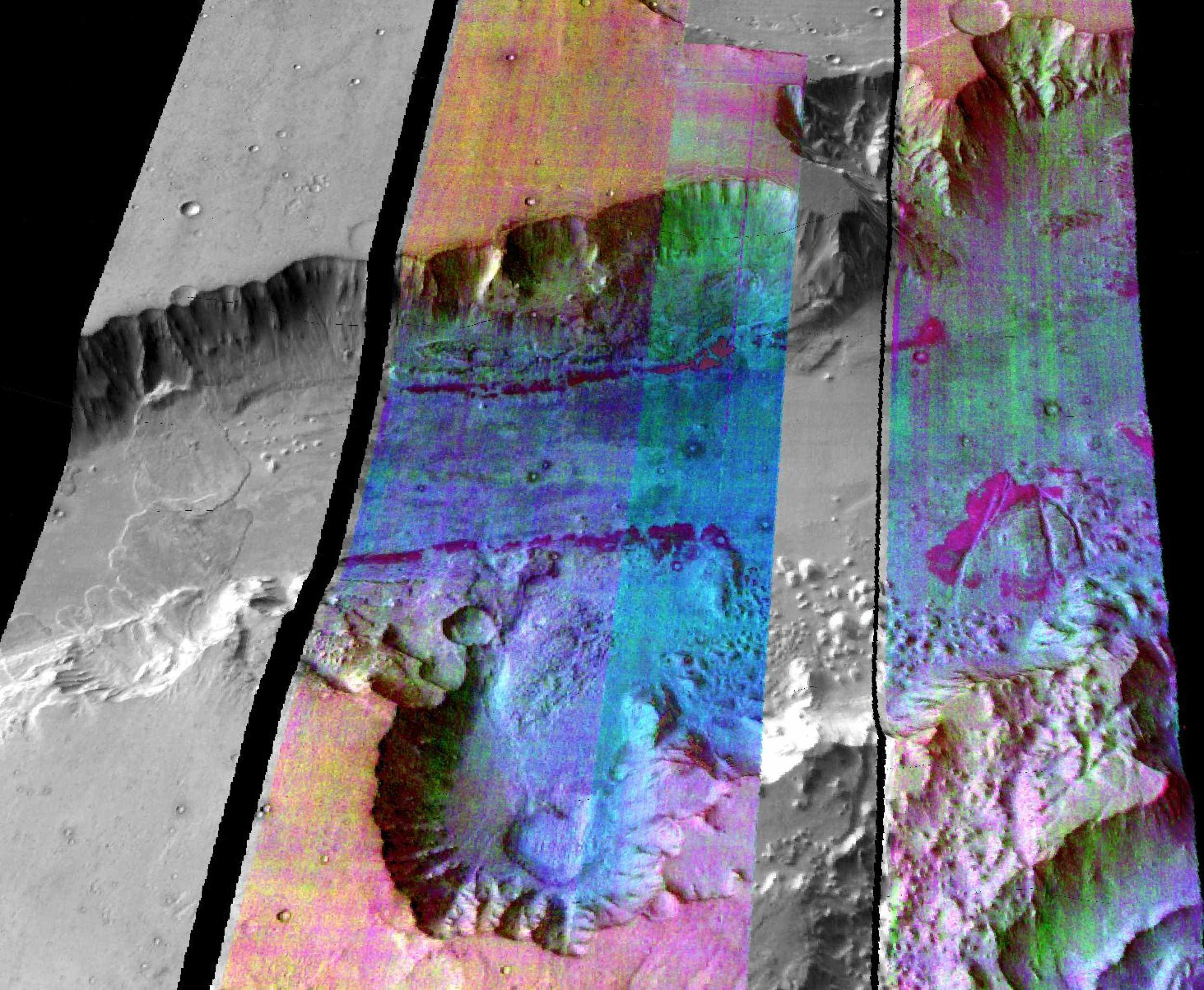 This image from NASA's Mars Odyssey spacecraft shows part of Ganges Chasma in Valles Marineris. The colors indicate compositional variations in the rocks exposed in the wall and floor of Ganges and in the dust and sand on the rim of the canyon.