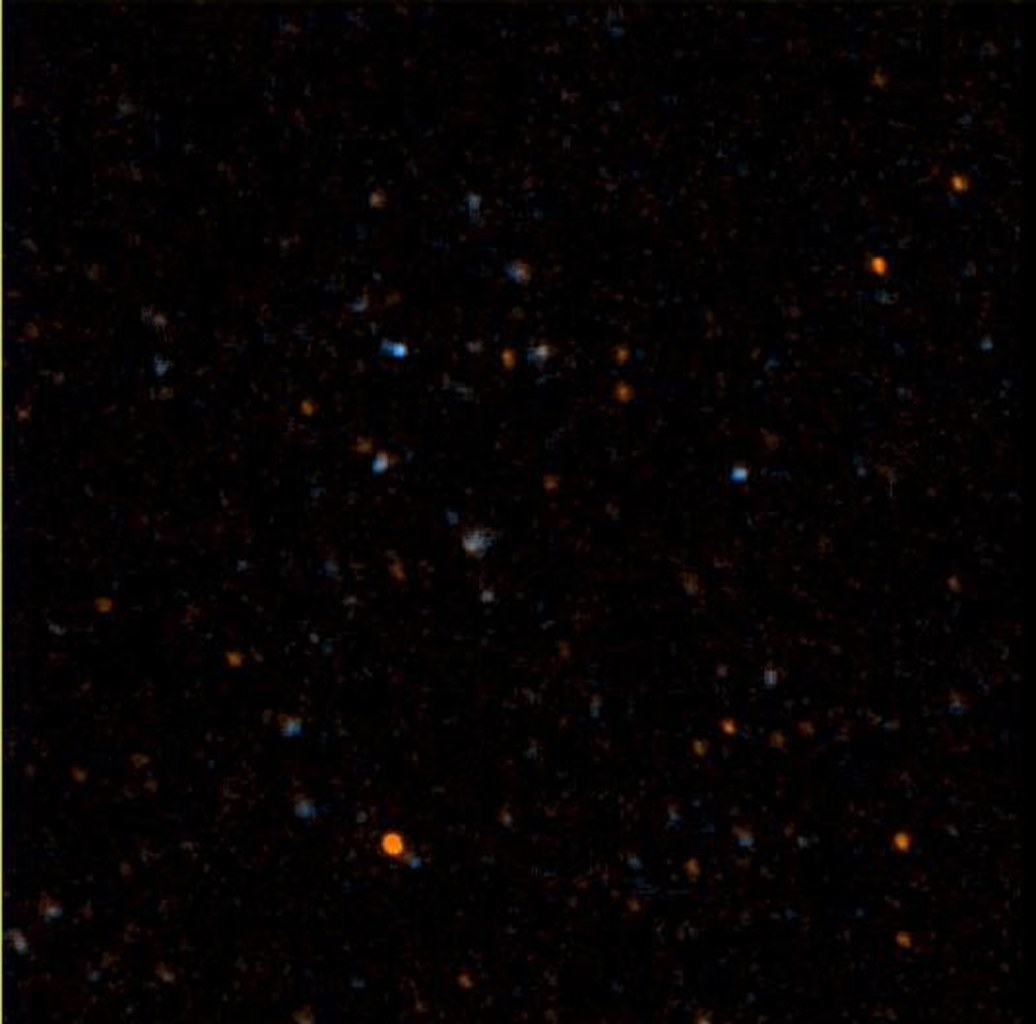 "NASA's Galaxy Evolution Explorer took this image on May 21 and 22, 2003. The image was made from data gathered by the two channels of the spacecraft camera during the mission's ""first light"" milestone."