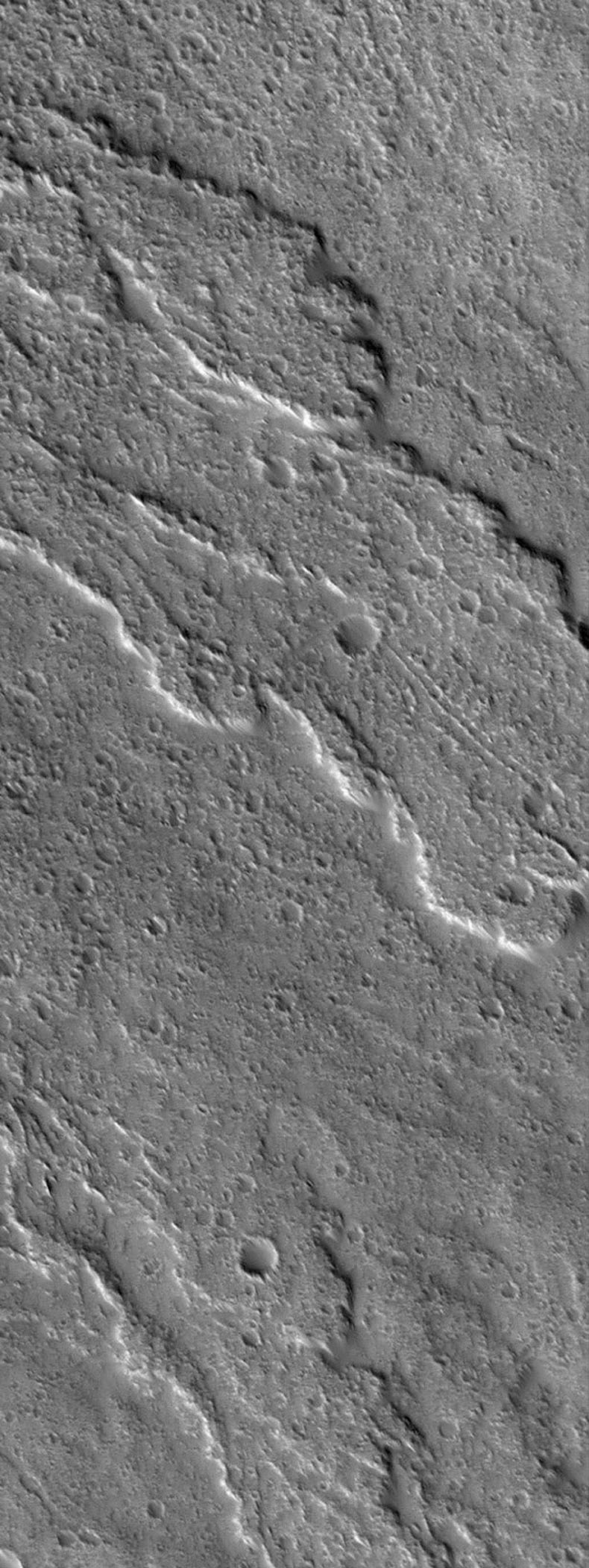 NASA's Mars Global Surveyor shows heavily-cratered lava flows on the slopes of the martian volcano, Ascraeus Mons on Mars. The mountain is a classic shield volcano, similar in many respects to the volcanoes of Hawaii.