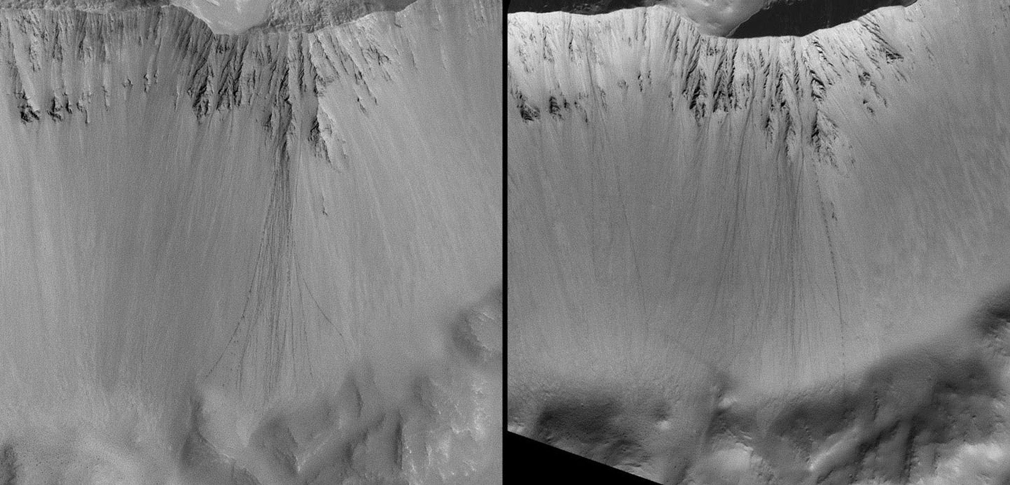 When a boulder rolls down a dusty slope, it can leave behind a trail of depressions known as boulder tracks. This image is from NASA's Mars Global Surveyor spacecraft.