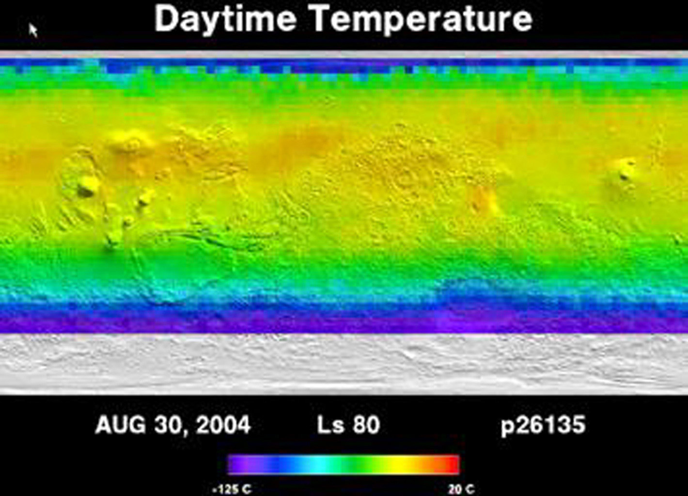 NASA's Mars Global Surveyor shows temperatures outlining the growth and retreat of the martian northern and southern polar ice caps. The caps grow in winter and are composed of carbon dioxide ice.