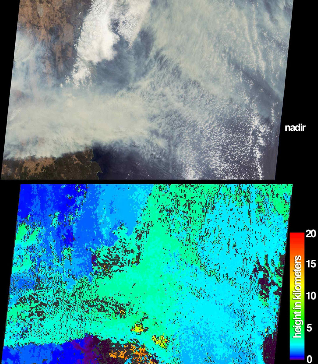 The height and extent of billowing smoke plumes from bushfires near Canberra, the Australian capital, are illustrated by these views from NASA's Terra spacecraft acquired on January 18, 2003.
