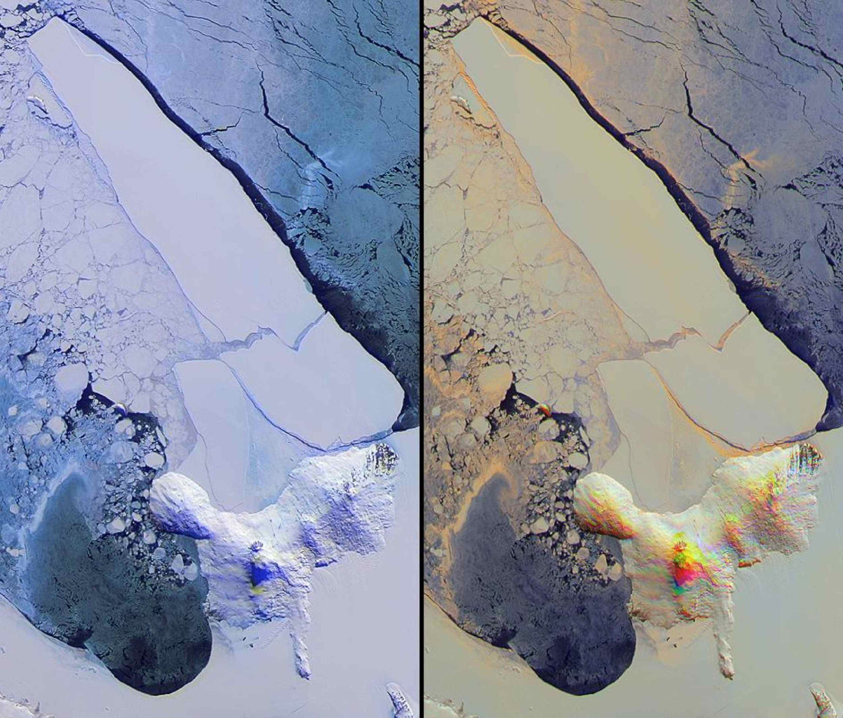 NASA's Terra spacecraft imaged Iceberg B-15A, the largest iceberg in the world (measuring about 11,000 square kilometers) when it broke away from Western Antarctica's Ross Ice Shelf in March 2000.