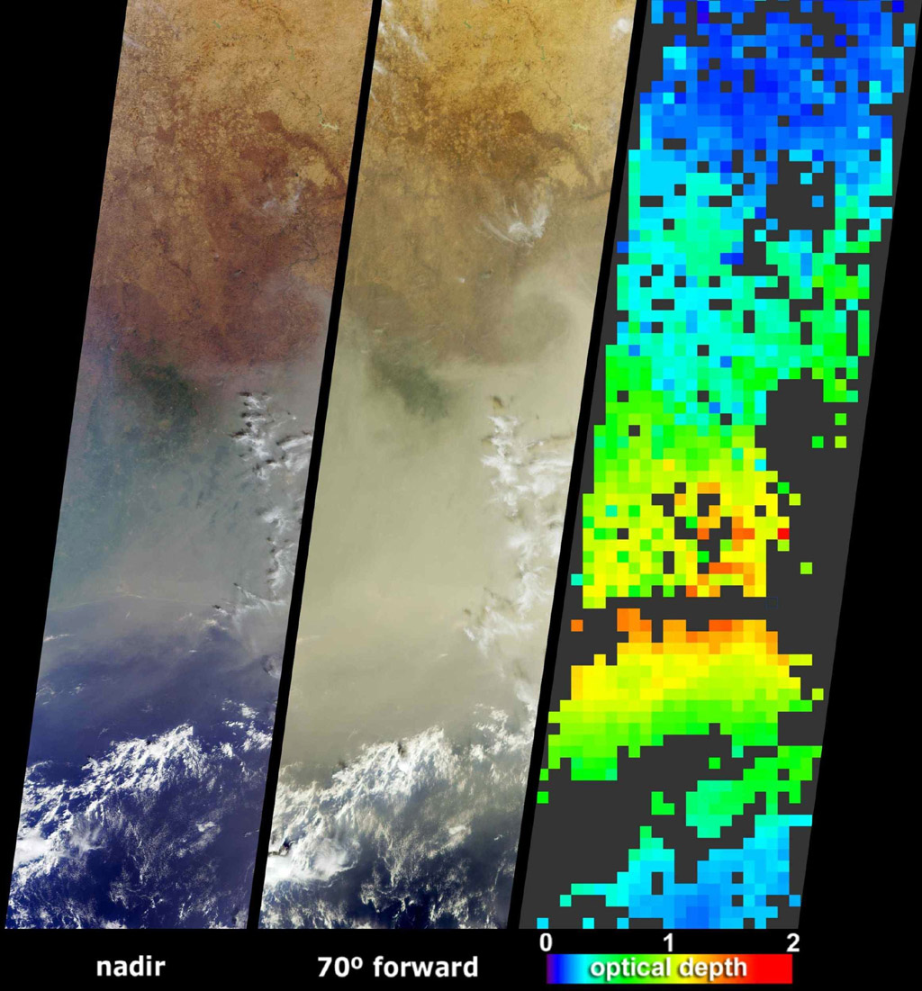 NASA's Terra spacecraft saw a pall of smoke and dust largely obscured the nations of Cote d'Ivoire, Ghana, Burkina Faso and southern Mali on January 12, 2004.
