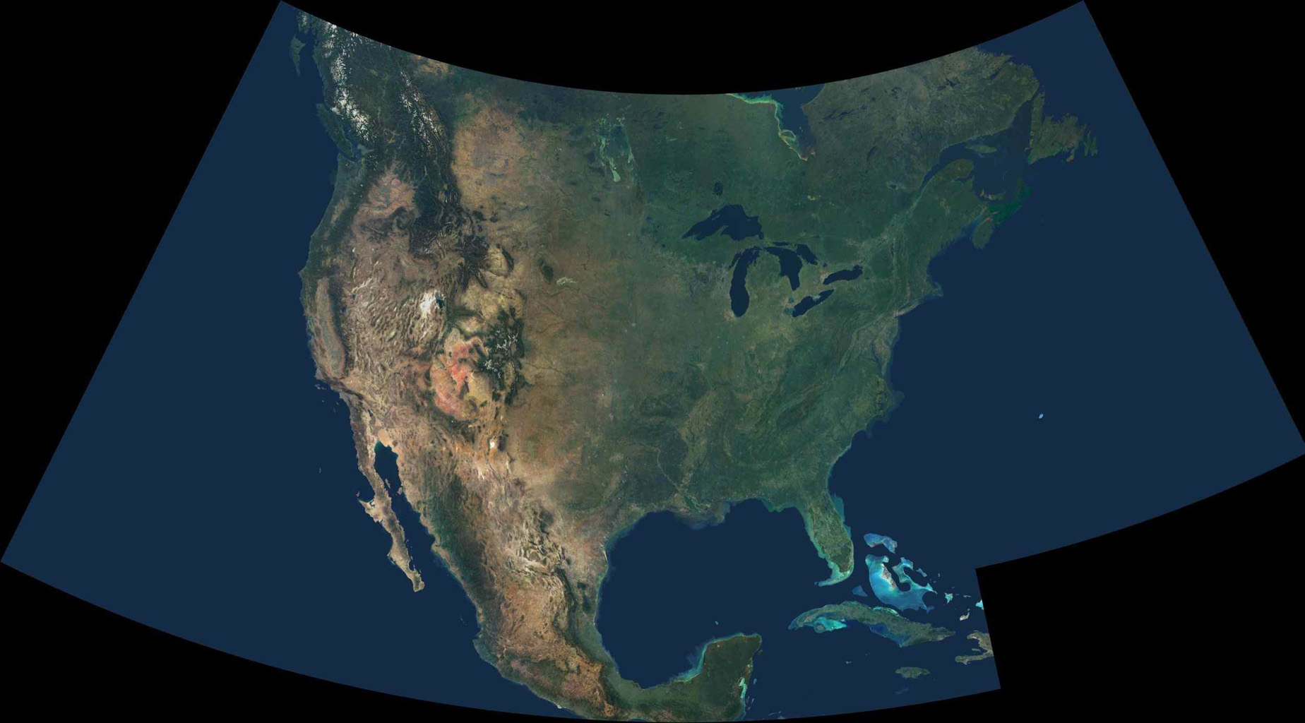 Space Images Natural Color Mosaic Of North America