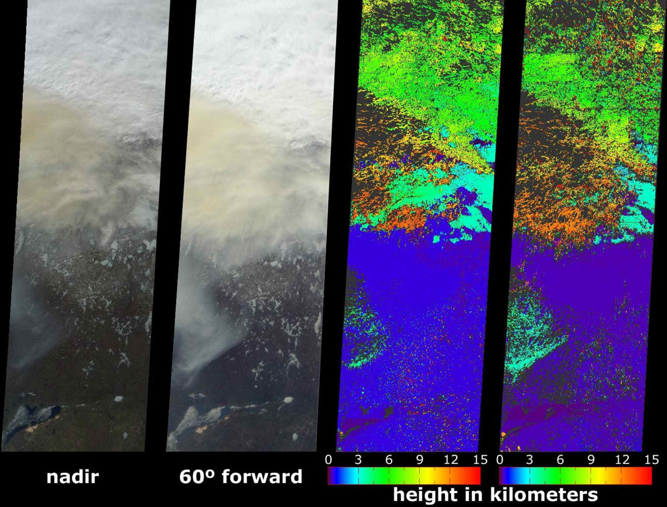 A look at smoke from the Chisholm forest fire, which ignited on May 23, 2001 about 160 kilometers north of Edmonton in Alberta, Canada, as seen by NASA's Terra spacecraft.