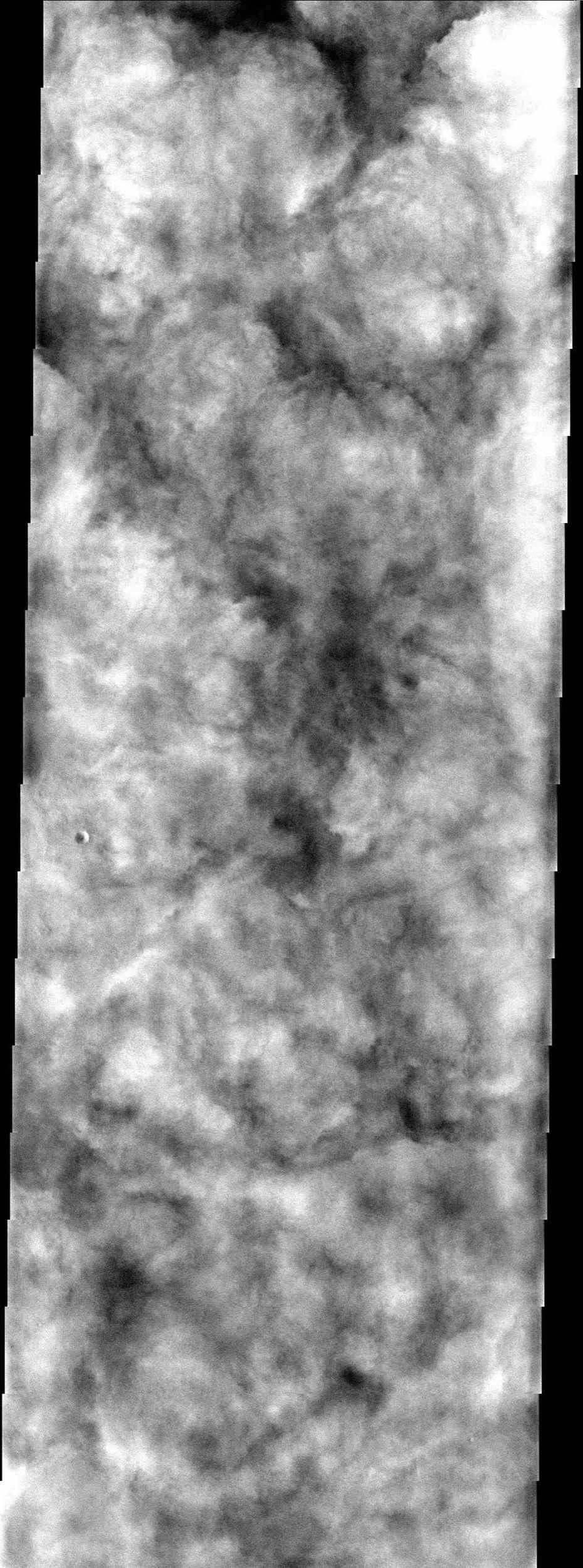 Heavy water ice clouds almost completely obscure the surface in Vastitas Borealis, as seen in this image from NASA's Mars Odyssey spacecraft.