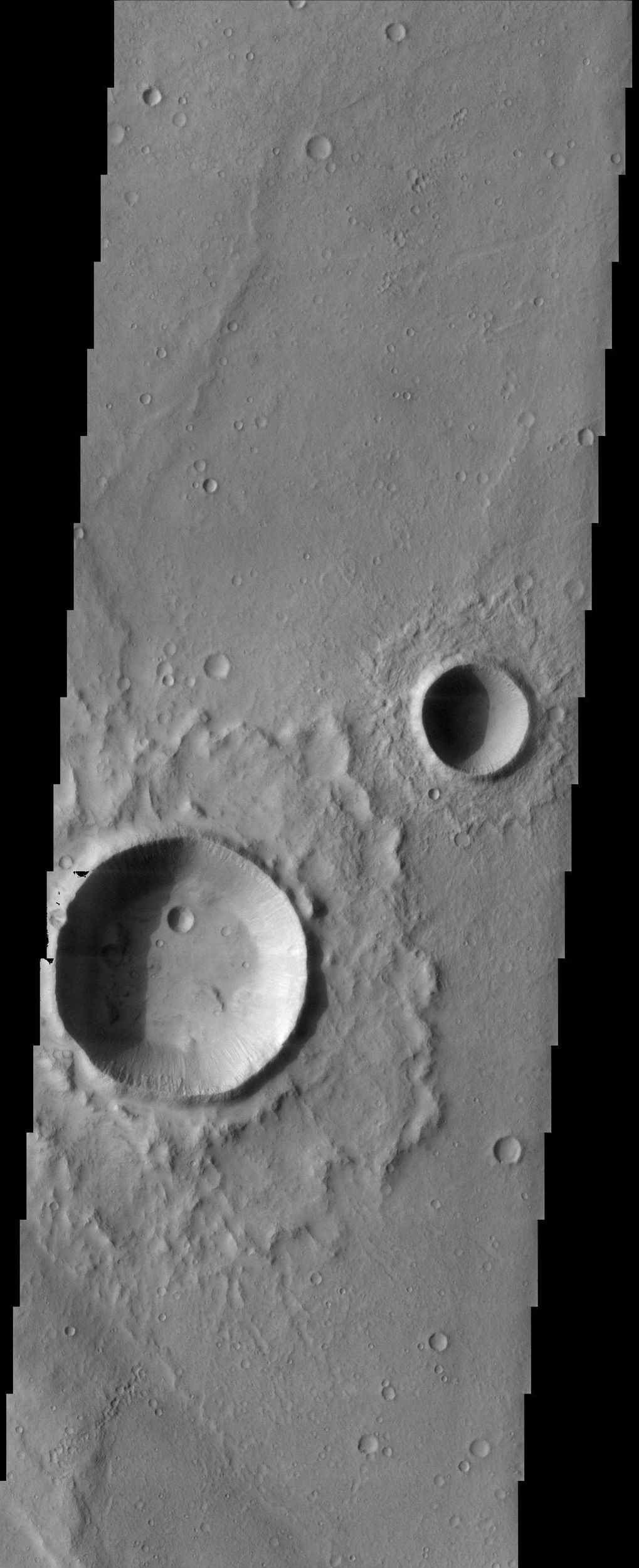 The fluidized impact crater ejecta and flat crater floors observed in this image from NASA's Mars Odyssey spacecraft suggest near-surface volatiles once played an important role in modifying the Martian surface.