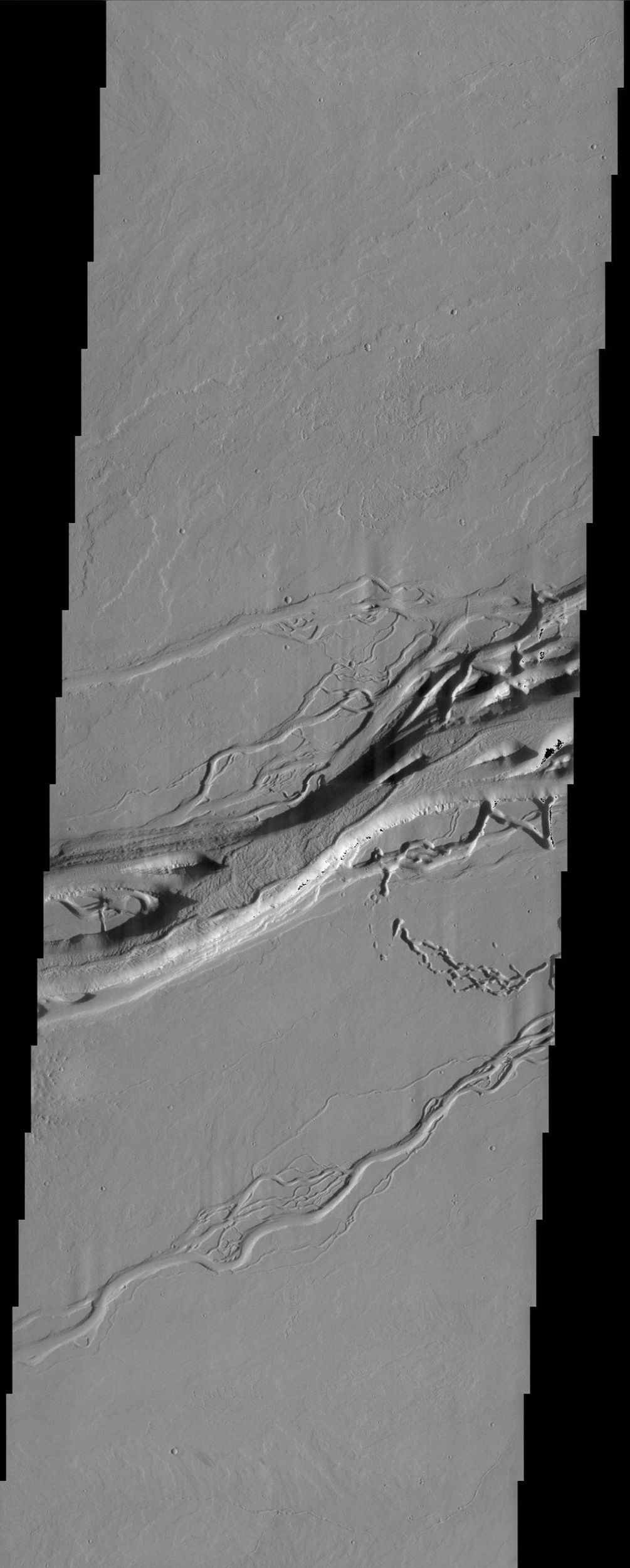 This image from NASA's Mars Odyssey spacecraft shows the Olympica Fossae channel system located east of the Olympus Mons volcano in Tharsis. These anastomosing channels cut numerous lava flows indicating that the channels are younger than the lava flows.