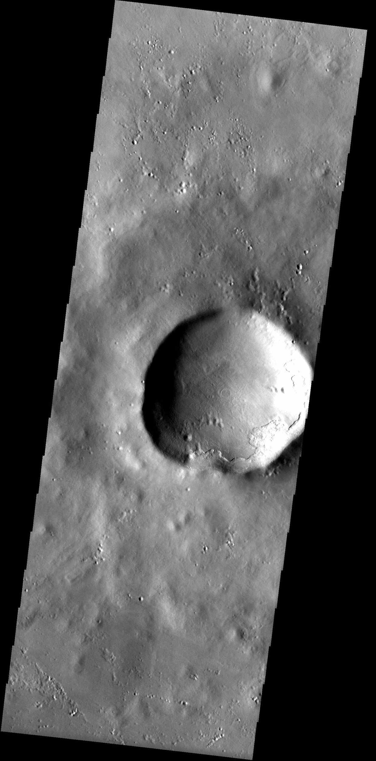 In the high northern latitudes northwest of Alba Patera, a smooth mantle of material that covers the landscape appears chipped away from the rim of a large crater, as observed in this image from NASA's Mars Odyssey spacecraft.